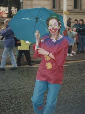 Me as a clown, in the rain