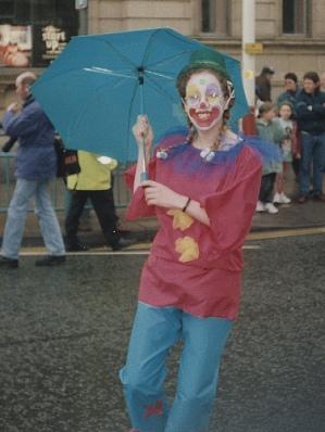 Me as a clown, in the rain