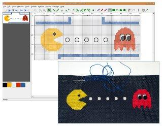Pacman pattern and KXStitch screenshot