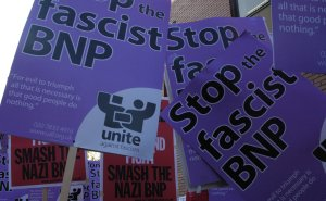 Unite Against Fascism placards