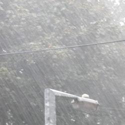 Heavy rain from my door