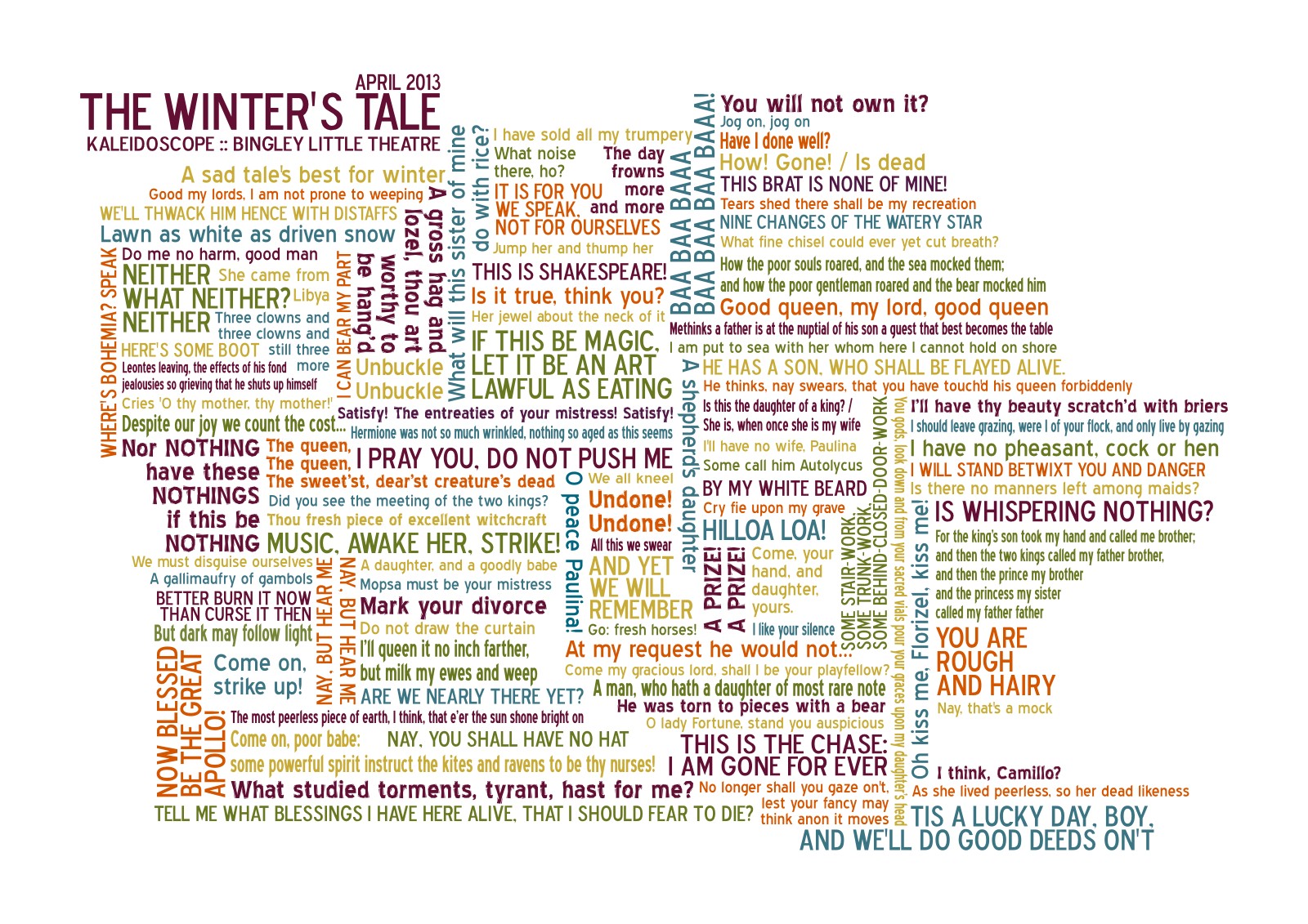 Cloud Quotes The Winter's Tale Quote Word Cloud  Louisa Parry